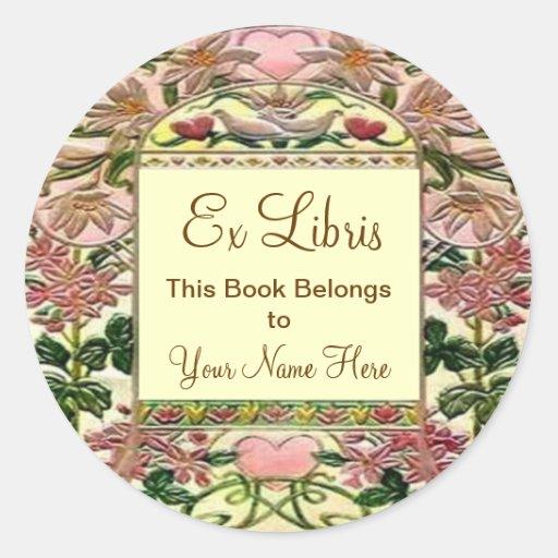 Bookplate de Libris de los corazones de la Pegatina Redonda