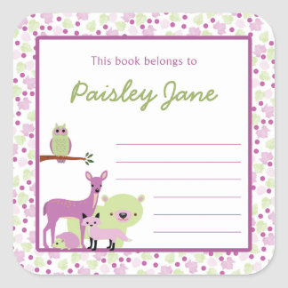 Bookplate de los animales del bosque/placa de pegatina cuadrada