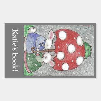 Bookplate de los conejitos de la lluvia rectangular pegatinas