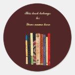Bookplate de los estantes pegatina redonda