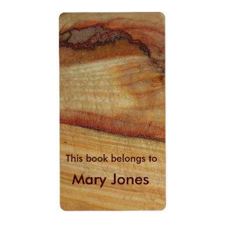 Bookplate de madera del grano etiqueta de envío