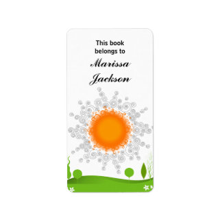 Bookplate de Sun del verano Etiqueta De Dirección