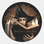 Bookplate de Witchy Etiquetas Redondas