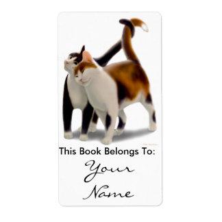 Bookplate del amor del gato del gatito etiqueta de envío