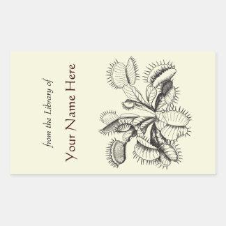 Bookplate del atrapamoscas de Venus Pegatina Rectangular
