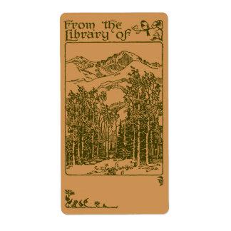 Bookplate del bosque etiquetas de envío