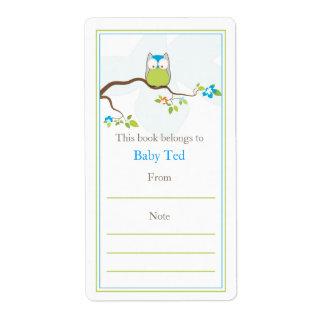 Bookplate del búho del bebé etiqueta de envío