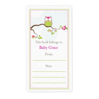 Bookplate del búho del bebé etiquetas de envío