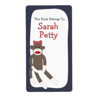 Bookplate del chica del mono del calcetín etiqueta de envío