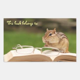 Bookplate del Chipmunk del ratón de biblioteca Pegatina Rectangular