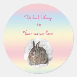 Bookplate del conejito pegatina redonda