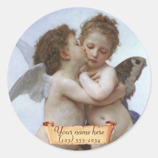 Bookplate del Cupid y del Pre-Raphaelite de la psi Pegatinas Redondas