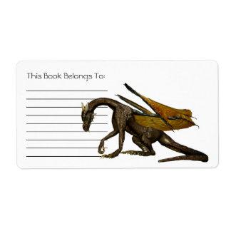 Bookplate del dragón etiqueta de envío