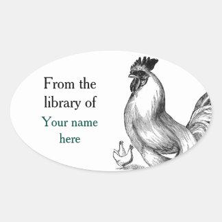 Bookplate del ejemplo del gallo del vintage pegatina ovalada