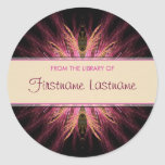 Bookplate del fractal: Pegatina rosado y