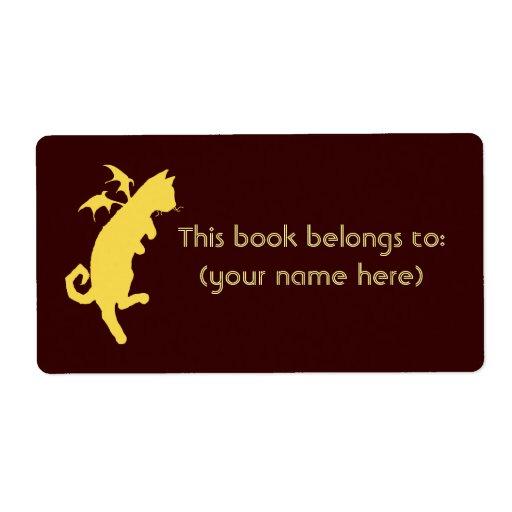 Bookplate del kitteh del disco del vuelo, cuadrado etiquetas de envío