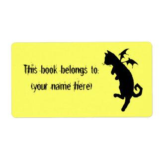 Bookplate del kitteh del vuelo, cuadrado etiquetas de envío