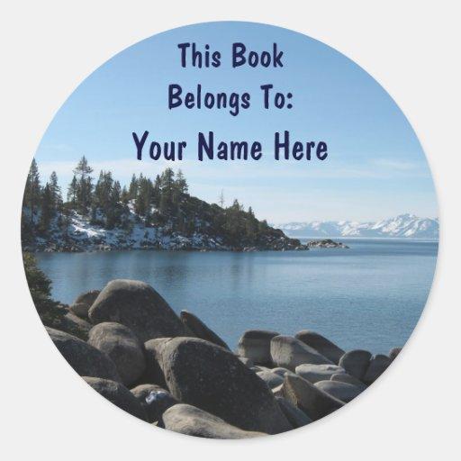 Bookplate del lago Tahoe Pegatina Redonda
