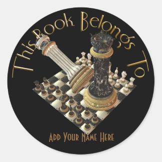 Bookplate del maniaco del ajedrez pegatina redonda