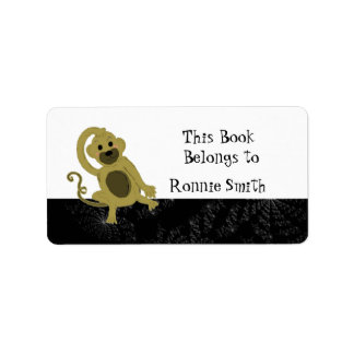 Bookplate del mono del dibujo animado etiquetas de dirección