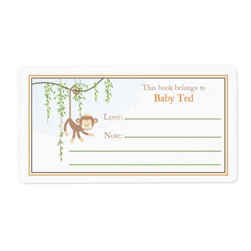 Bookplate del mono etiqueta de envío