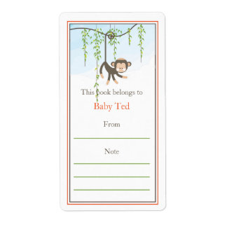 Bookplate del mono etiquetas de envío