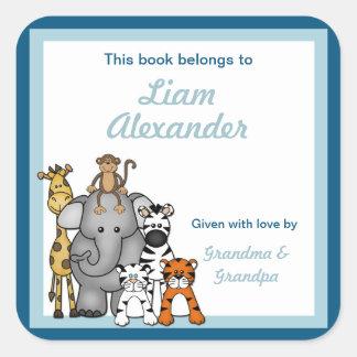 BOOKPLATE del muchacho azul de las placas de libro Pegatina Cuadradas Personalizada