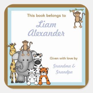 BOOKPLATE del muchacho azul de las placas de libro Pegatina Cuadrada
