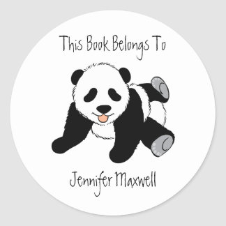 Bookplate del oso de panda pegatinas redondas