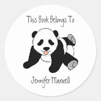 Bookplate del oso de panda pegatina redonda