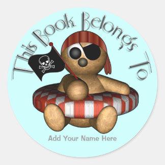 Bookplate del oso del pirata pegatina