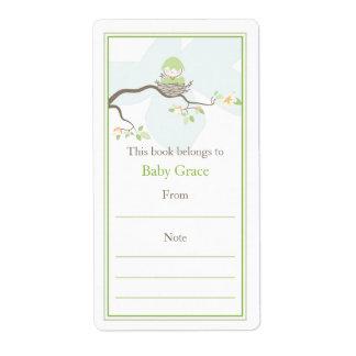 Bookplate del pájaro de bebé etiqueta de envío