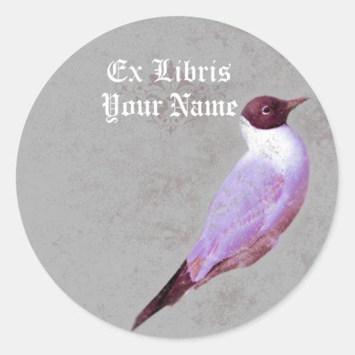 Bookplate del pájaro del vintage pegatina redonda