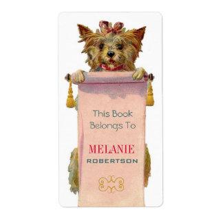 Bookplate del perrito del vintage etiquetas de envío