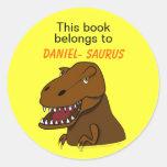 Bookplate del personalizado del dinosaurio de Rex Pegatinas Redondas