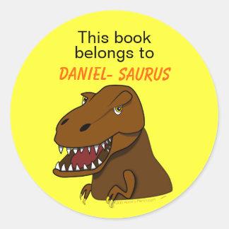 Bookplate del personalizado del dinosaurio de Rex Pegatina Redonda