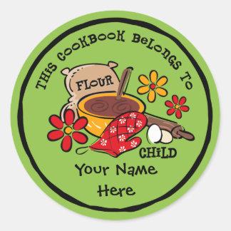 Bookplate del personalizado del niño de la harina pegatina redonda