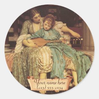 """""""Bookplate del Pre-Raphaelite de la lección de Pegatina Redonda"""