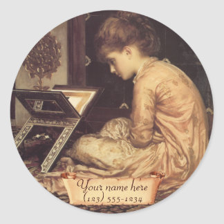 """Bookplate del Pre-Raphaelite del escritorio de Pegatina Redonda"