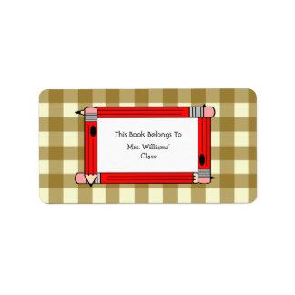Bookplate del profesor - guinga del moreno y lápic etiquetas de dirección