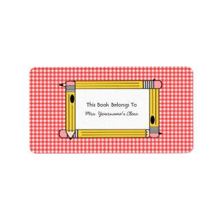 Bookplate del profesor - guinga roja y lápices ama etiqueta de dirección