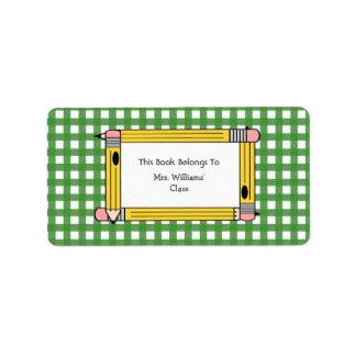 Bookplate del profesor - guinga verde y lápices etiqueta de dirección