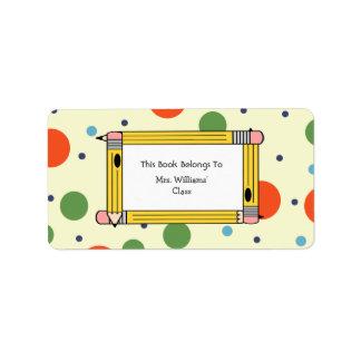 Bookplate del profesor - lunares y lápices etiqueta de dirección