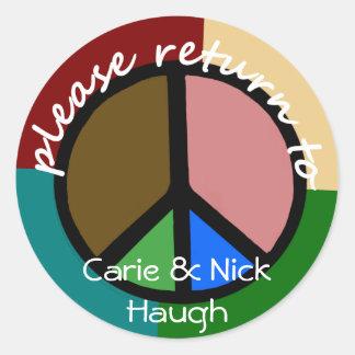 Bookplate del símbolo de paz del multicolor pegatina redonda