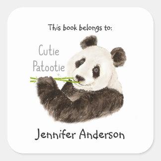 Bookplate divertido del oso de panda de Cutie   Pegatina Cuadrada