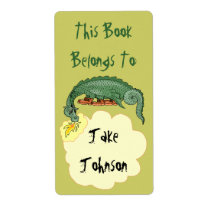 Bookplate Dragon Breathes Name Book Label Belongs