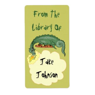 Bookplate Dragon Breathes Name From The Library Of Shipping Label