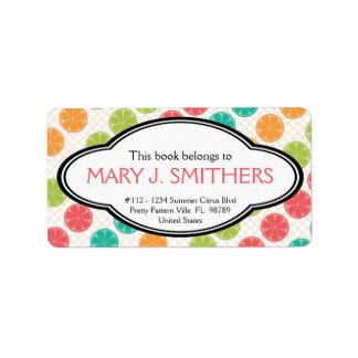 Bookplate dulce de las señoras de la fruta cítrica etiquetas de dirección