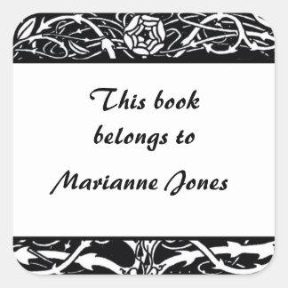 Bookplate elegante de la frontera de Beardsley Calcomania Cuadrada Personalizada
