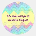 Bookplate en colores pastel del personalizado del pegatinas redondas